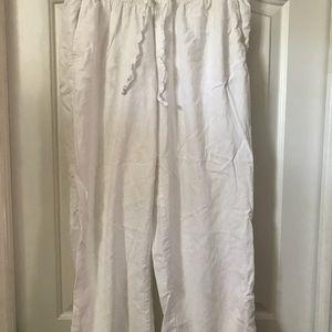 White linen plus size pants